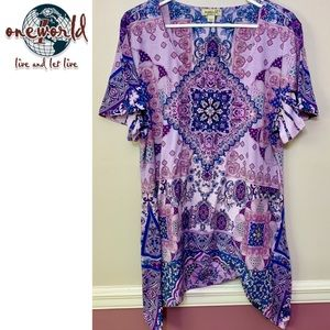 ONE WORLD Tops - One world Live and Let Live purple tunic 2X